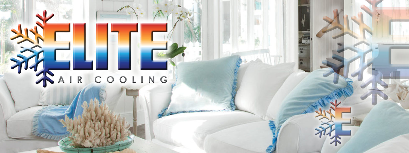 White and teal living room set Elite Air Cooling for all you ac service needs in SWFL