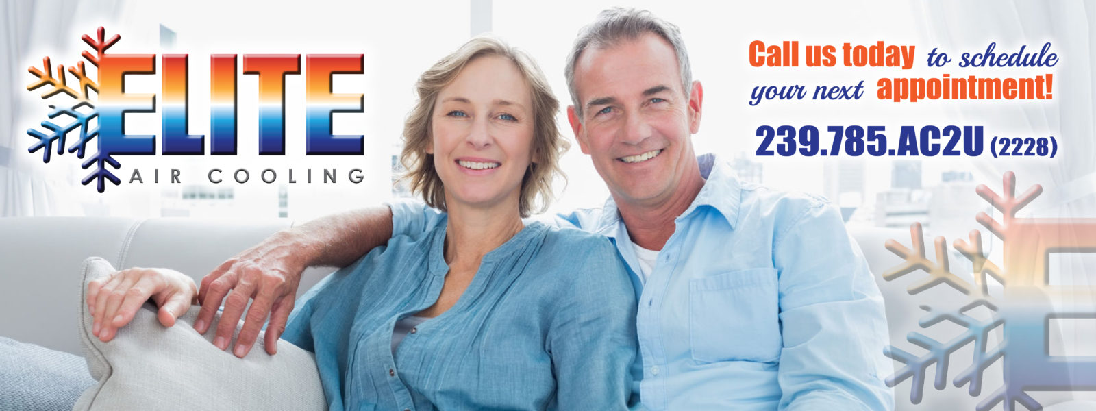 Happy husband and wife with Elite Air Cooling contact info 239-785-2228