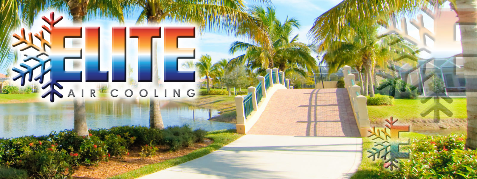 Florida landscaping. Lake, bridge, and palm trees call Elite Air Cooling for all your HVAC needs 239-785-2228